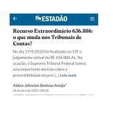 Site do jornal o Estado de São Paulo publica artigo de Aldem Johnston intitulado RE 636.886: o que muda nos Tribunais de Contas?
